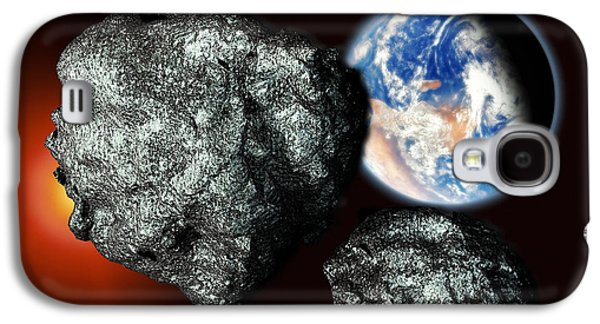 Planetoid Galaxy S4 Cases - Asteroids Approaching Earth Galaxy S4 Case by Victor Habbick Visions