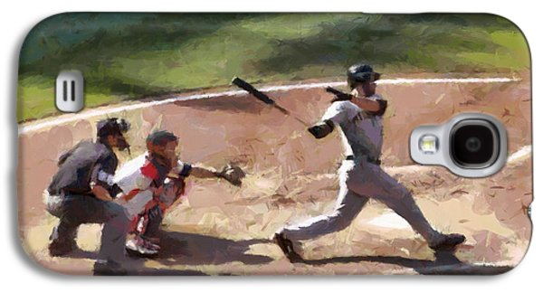 Baseball Stadiums Paintings Galaxy S4 Cases - At Bat Galaxy S4 Case by Lynne Jenkins
