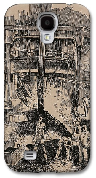 Industrial Drawings Galaxy S4 Cases - At the Blast Furnace Galaxy S4 Case by Ylli Haruni