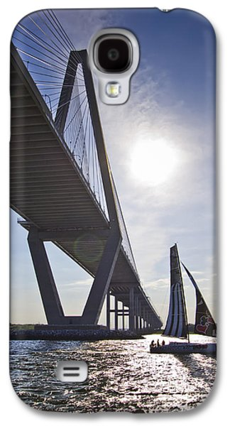 Open Photographs Galaxy S4 Cases - Atlantic Cup Open 40 Alize III Racing Yact Under the Arthur Ravenel Jr Bridge Charleston SC Galaxy S4 Case by Dustin K Ryan