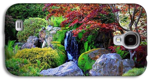 Autumn Landscape Digital Art Galaxy S4 Cases - Autumn Waterfall Galaxy S4 Case by Carol Groenen
