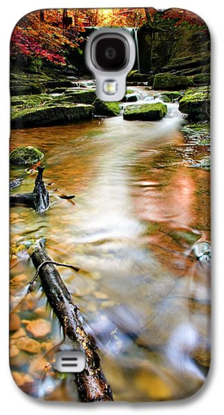 White River Scene Photographs Galaxy S4 Cases - Autumnal Waterfall Galaxy S4 Case by Meirion Matthias