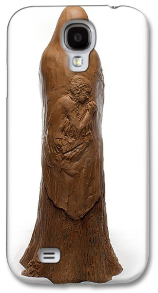 Native Sculptures Galaxy S4 Cases - Back view of Saint Rose Philippine Duchesne sculpture Galaxy S4 Case by Adam Long