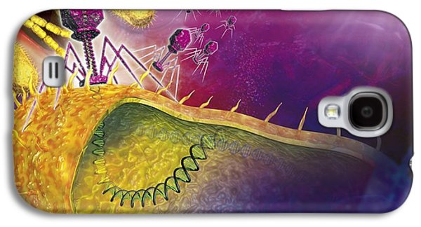 Virology Galaxy S4 Cases - Bacteriophages Attacking Bacteria Galaxy S4 Case by Claus Lunau