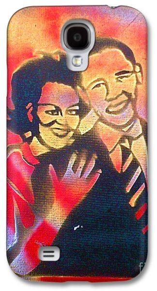 Michelle Obama Paintings Galaxy S4 Cases - Barack BLACK Love Galaxy S4 Case by Tony B Conscious