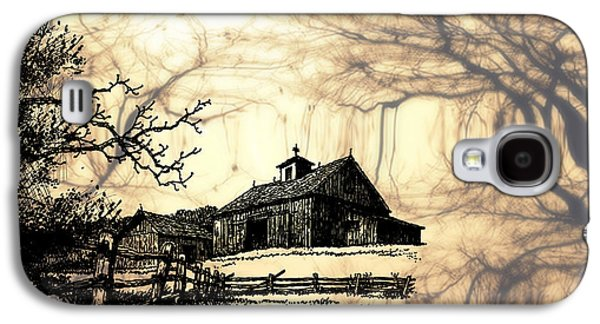 Old Barn Drawing Galaxy S4 Cases - Barn Out Back 2 Galaxy S4 Case by Cheryl Young