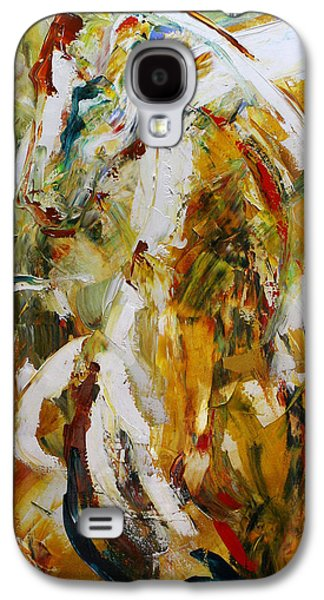 Abstract Canvas Galaxy S4 Cases - Bathed in Gold Galaxy S4 Case by Laurie Pace