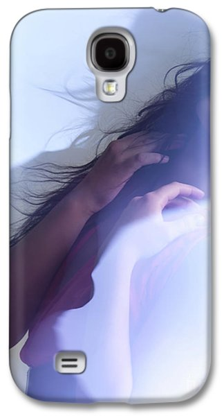 Chin Up Galaxy S4 Cases - Beauty Photo of a Woman in Shining Blue Settings Galaxy S4 Case by Oleksiy Maksymenko