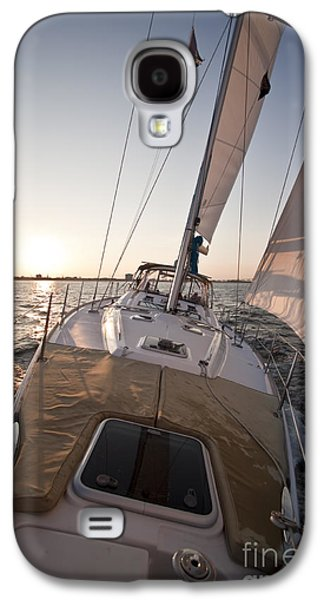 Sailboats In Harbor Galaxy S4 Cases - Beneteau 49 Sailing Yacht close hauled charleston sunset Sailboat Galaxy S4 Case by Dustin K Ryan
