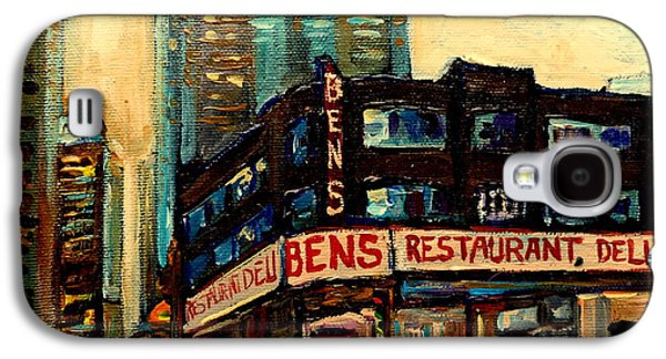 Montreal Street Life Paintings Galaxy S4 Cases - Bens Restaurant Deli Galaxy S4 Case by Carole Spandau