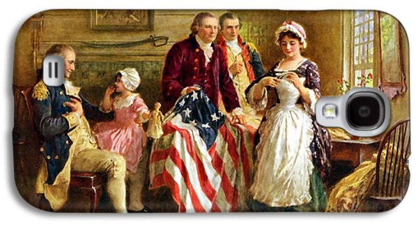 Flag Paintings Galaxy S4 Cases - Betsy Ross and General George Washington Galaxy S4 Case by War Is Hell Store