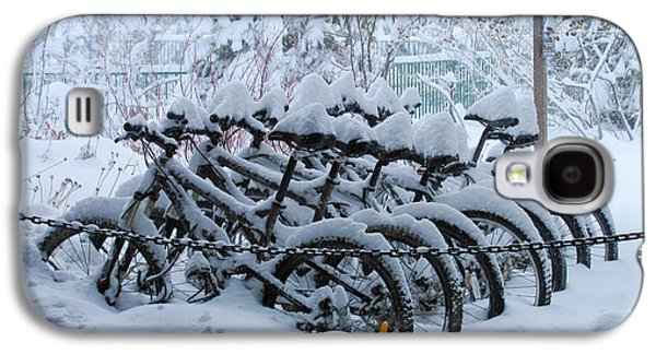 Winter Road Scenes Galaxy S4 Cases - Bicycles In The Snow Galaxy S4 Case by Heidi Smith