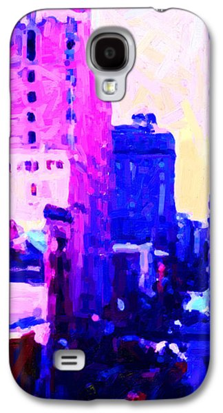 Long Street Digital Art Galaxy S4 Cases - Big City Blues Galaxy S4 Case by Wingsdomain Art and Photography