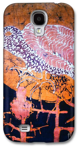 Mystical Tapestries - Textiles Galaxy S4 Cases - Bird on Thistle at Sundown Galaxy S4 Case by Carol Law Conklin