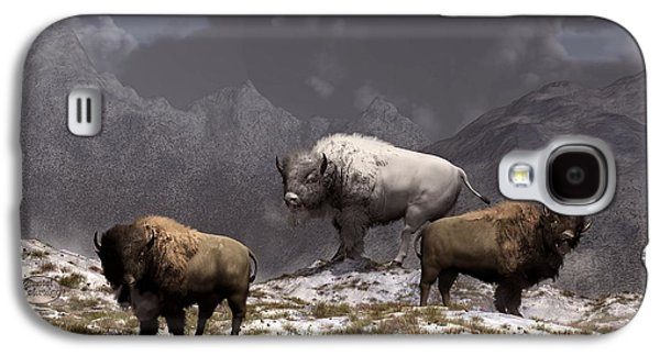 Bison Digital Art Galaxy S4 Cases - Bison King Galaxy S4 Case by Daniel Eskridge