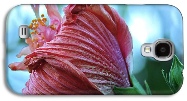 Youthful Galaxy S4 Cases - Blossoming Pink Hibiscus Flower Galaxy S4 Case by Karon Melillo DeVega