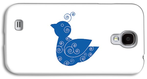 Blue Abstracts Drawings Galaxy S4 Cases - Blue Bird Galaxy S4 Case by Frank Tschakert