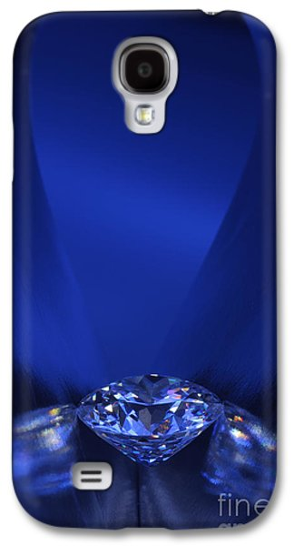 Stones Jewelry Galaxy S4 Cases - Blue Diamond In Blue Light Galaxy S4 Case by Atiketta Sangasaeng