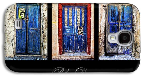 Entrance Door Galaxy S4 Cases - Blue Doors Of Santorini Galaxy S4 Case by Meirion Matthias