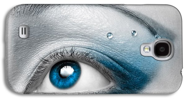 Eyes Galaxy S4 Cases - Blue Female Eye Macro with Artistic Make-up Galaxy S4 Case by Oleksiy Maksymenko