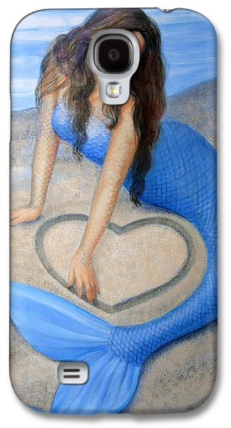 Beauty Paintings Galaxy S4 Cases - Blue Mermaids Heart Galaxy S4 Case by Sue Halstenberg