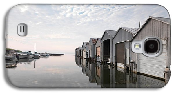 Waterscape Galaxy S4 Cases - Boat Houses at Lake Erie Galaxy S4 Case by Oleksiy Maksymenko