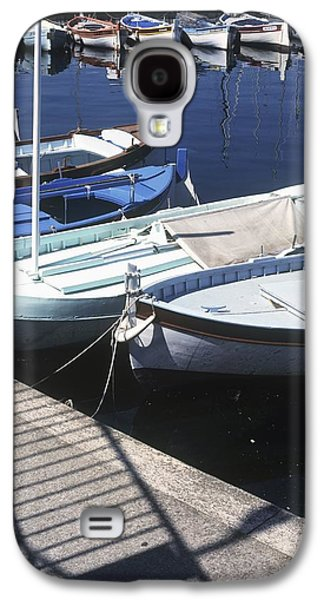 Boats In Reflecting Water Galaxy S4 Cases - Boats In Harbor Galaxy S4 Case by Axiom Photographic