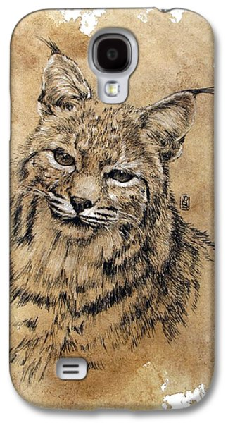Bobcats Drawings Galaxy S4 Cases - Bobcat Galaxy S4 Case by Debra Jones
