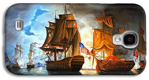 Ocean Paintings Galaxy S4 Cases - Bonhomme Richard engaging The Serapis in Battle Galaxy S4 Case by Paul Walsh