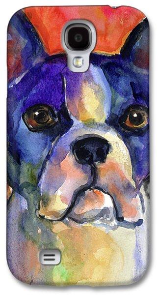 Puppy Drawings Galaxy S4 Cases - Boston Terrier dog painting  Galaxy S4 Case by Svetlana Novikova