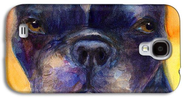 Watercolor Drawings Galaxy S4 Cases - Boston Terrier dog portrait painting in Watercolor Galaxy S4 Case by Svetlana Novikova