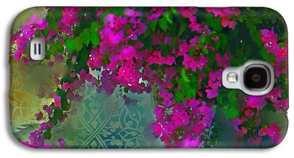 Garden Scene Mixed Media Galaxy S4 Cases - Bougainville Delight Galaxy S4 Case by Seema Sayyidah