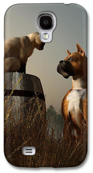 Boxer Digital Art Galaxy S4 Cases - Boxer and Siamese Galaxy S4 Case by Daniel Eskridge