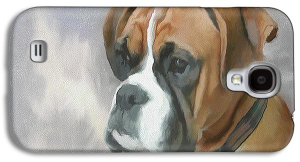 Dog Close-up Paintings Galaxy S4 Cases - Boxer Galaxy S4 Case by Gael Keevil