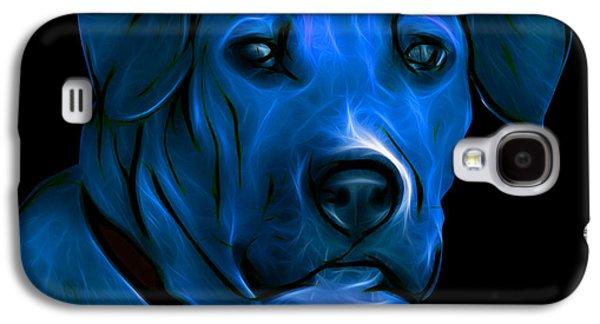 Boxer Galaxy S4 Cases - Boxer Pitbull Mix Pop Art-Blue Galaxy S4 Case by James Ahn
