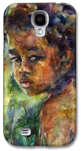 Watercolor Drawings Galaxy S4 Cases - Boy Watercolor Portrait Galaxy S4 Case by Svetlana Novikova