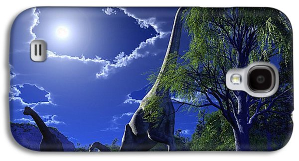 Moonlit Night Photographs Galaxy S4 Cases - Brachiosaurus Dinosaurs, Artwork Galaxy S4 Case by Roger Harris