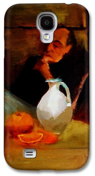 Chin On Hand Paintings Galaxy S4 Cases - Breaktime with Oranges and Milk Jug Man Deep in Philosophical Thought with Mysterious Boy Servant Galaxy S4 Case by M Zimmerman MendyZ