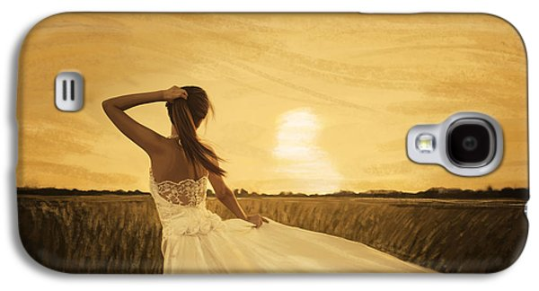 Fantasy Pastels Galaxy S4 Cases - Bride In Yellow Field On Sunset  Galaxy S4 Case by Setsiri Silapasuwanchai