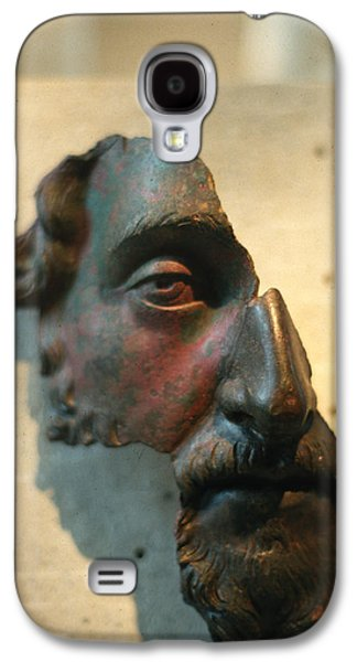 Ancient Sculptures Galaxy S4 Cases - Bronze fragment of a human face Galaxy S4 Case by Carl Purcell