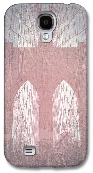 Brooklyn Bridge Digital Galaxy S4 Cases - Brooklyn Bridge Red Galaxy S4 Case by Naxart Studio