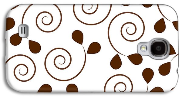 Modern Abstract Drawings Galaxy S4 Cases - Brown Floral Galaxy S4 Case by Frank Tschakert