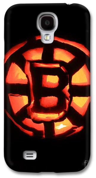 Jacko Galaxy S4 Cases - Bruins Carved Pumpkin Galaxy S4 Case by Lloyd Alexander
