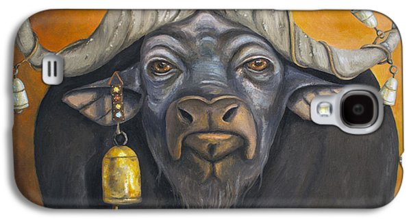 Steer Paintings Galaxy S4 Cases - Buffalo Bells Galaxy S4 Case by Leah Saulnier The Painting Maniac