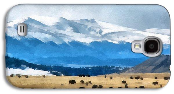Bison Digital Galaxy S4 Cases - Buffalo Herd Painterly Galaxy S4 Case by Ernie Echols