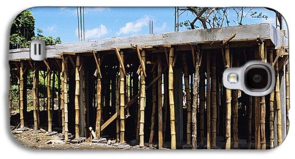 Bamboo House Galaxy S4 Cases - Building Construction Galaxy S4 Case by David Nunuk