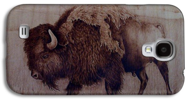 Bison Pyrography Galaxy S4 Cases - Bull Attitude Galaxy S4 Case by Jo Schwartz