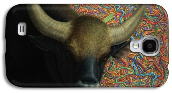 Steer Paintings Galaxy S4 Cases - Bull in a Plastic Shop Galaxy S4 Case by James W Johnson