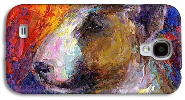 Textured Drawings Galaxy S4 Cases - Bull Terrier Dog painting Galaxy S4 Case by Svetlana Novikova