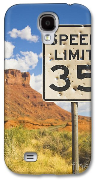 Vandalize Photographs Galaxy S4 Cases - Bullet Holes in Speed Limit Sign Galaxy S4 Case by Thom Gourley/Flatbread Images, LLC